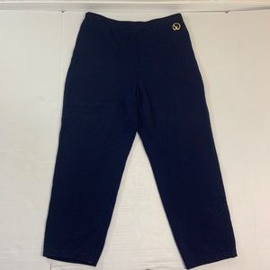St John Navy Blue Knit Logo Pants 8